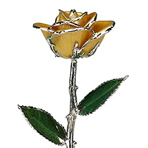 Yellow Laquered Platinum Dipped Long Stem Genuine Rose In Gift Box