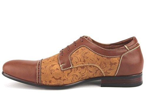Ferro Aldo Mens 19398l Bloemenprint Cap Teen Veter Oxford Dress Schoenen Bruin / Bruin