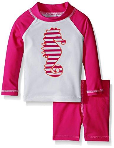 Flap Happy Baby UPF 50+ Graphic Rash Guard And Swim Short Set , Cabana Stripe Seahorse/Pure Magenta, 6 Months (Stripe Cabana Shirt)