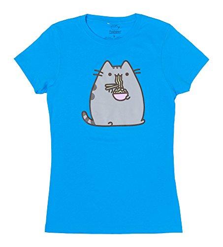 Pusheen The Cat Eating Noodles Juniors T-Shirt - Blue (Medium)