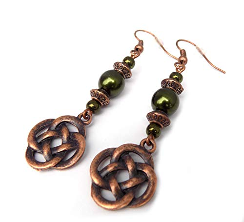 Beaded Celtic Knot Forest Green and Copper Handcrafted Dangle Earrings