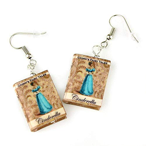 CINDERELLA Fairy Tale Princess Clay Mini Book HYPOALLERGENIC Earrings by Book Beads