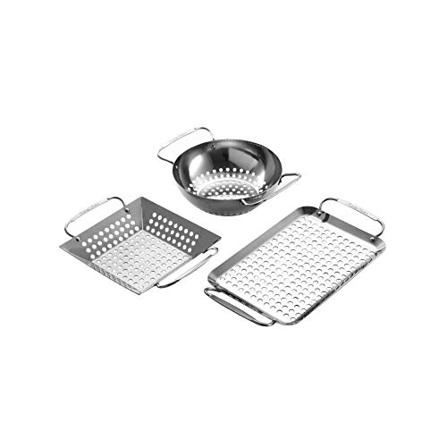 Extreme Salmon Mini Grill Topper, Grill Accessories Set Heavy Duty Grill Basket Stainless Steel Grill Pan for Vegetable Charcoal Barbecue Grill Wok Cookware for Outdoor Grill Cooking ()