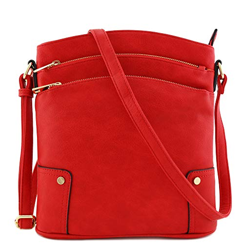 (Triple Zip Pocket Large Crossbody Bag (Tomato Red))