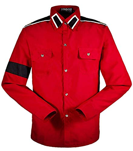 Costume for Michael Jackson CTE Shirts Black/White/red (M, Red) -