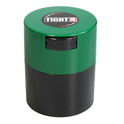 Tightvac - 1/2 oz to 3 ounce Airtight Multi-Use Vacuum Seal Portable Storage Container for Dry Goods, Food, and Herbs - Green Cap & Black Body