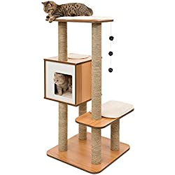 Vesper Cat Tree Scratching Post with Condo - Walnut Furniture