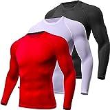 Lavento Men's Compression Shirts Crewneck Long-Sleeve Dri Fit Workout Shirts (3 Pack-Black/White/Red,X-Large)