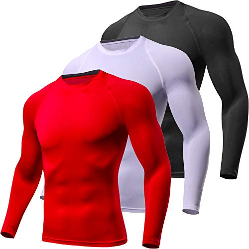 Lavento Men's Compression Shirts Crewneck Long-Sleeve Dri Fit Workout Shirts (3 ()
