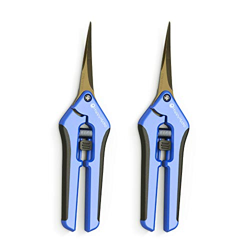 Happy Hydro - Trimming Scissors - Curved Tip - Titanium Coated Blades with Spring-Loaded Comfort Grip Handles - 2 Pack