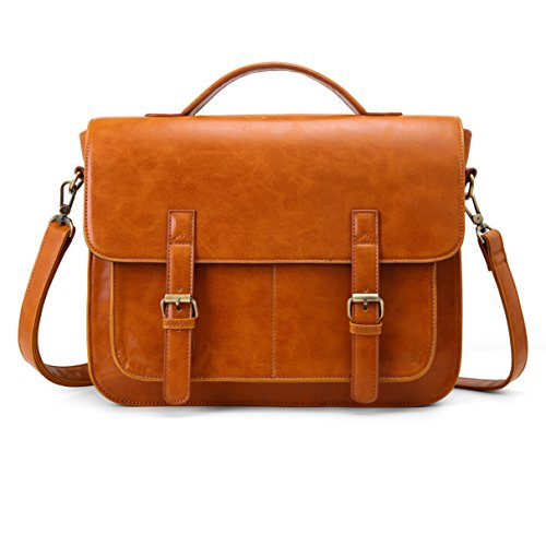 ECOSUSI Messenger Bag PU Leather Laptop Briefcase 14 inch Computer Shoulder Satchel Bag for Women and Men, Brown ()