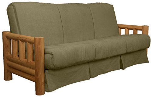 Rocky Mountain Perfect Sit & Sleep Pocketed Coil Inner Spring Pillow Top Sofa Sleeper Bed, Full-size, Microfiber Suede Olive Green Upholstery