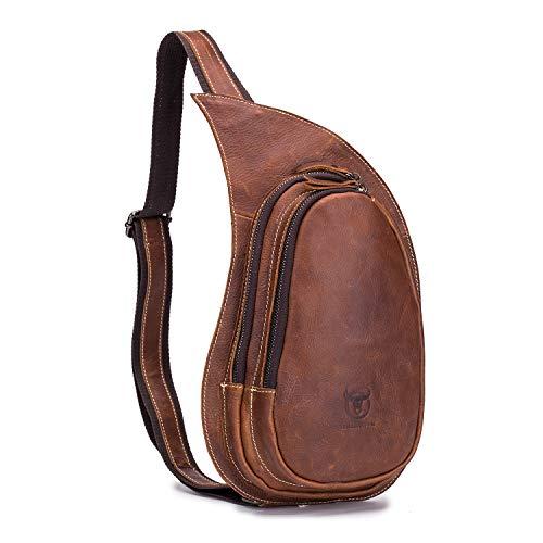 Men's Genuine Leather Sling Bag Vintage Chest Bags Casual Crossbody Satchel Outdoor Travel Shoulder Backpack, Brown ()