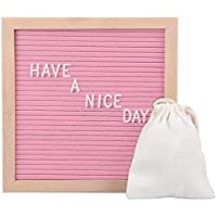 Plaviya Felt Letter 10x10 Inch Message Board with Oak Wood Frame, 370 PCS Letters & Display Stand (Pink)