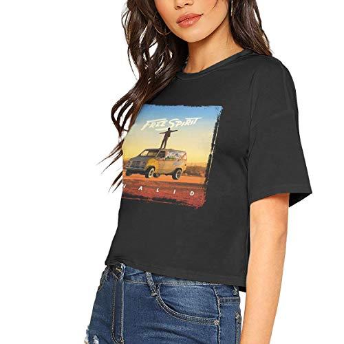 Bare Midriff Top - Khalid Sexy Exposed Navel Female T-Shirt Bare Midriff Crop Top Black