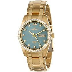 Sartego Men's SGGN16 Classic Analog Green Face Dial Gold Tone Swarovski Watch