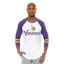 NFL Men's T-Shirt Raglan Baseball 3/4 Long Sleeve Tee Shirt, Team Logo Color