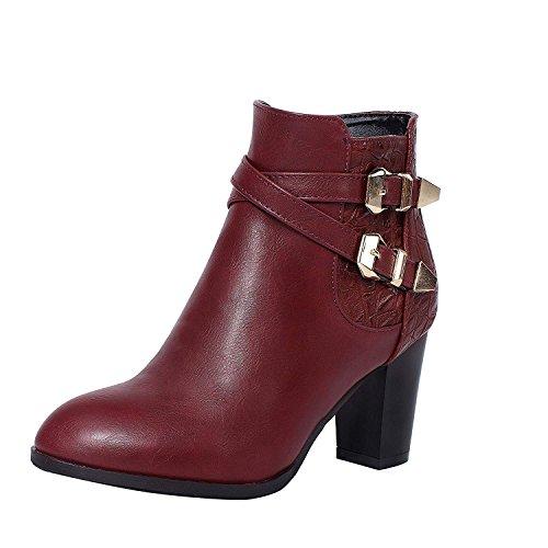 Ladies Buckle Booties Heel Womens Wine Boots Ankle Block Shoes Zip Vitalo High q8IzT