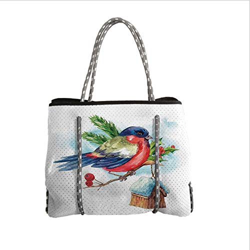 Holly Casserole (Neoprene Multipurpose Beach Bag Tote Bags,Rowan,Merry Christmas Composition with Cute Bullfinch Holly Pine Cone Bird House in Winter Decorative,Multicolor,Women Casual Handbag Tote Bags)