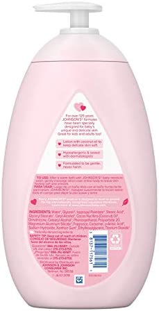 41ETcJ5XJIL. AC - Johnson's Moisturizing Pink Baby Lotion With Coconut Oil, Gentle, Nourishing & Hydrating Baby Body Lotion, Hypoallergenic, Paraben-Free, Sulfate-Free, Dye-Free, Phthalate-Free, 27.1 Fl. Oz