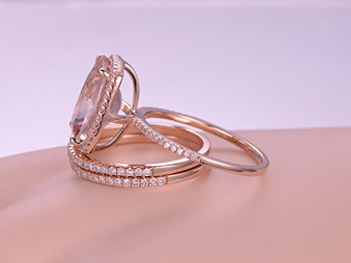3pcs morganite wedding ring set10x12mm cushion cut pink stone 14k rose gold halo matching - Morganite Wedding Ring Set