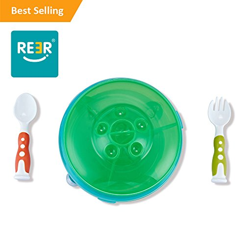 ReeR Section Plate Divided Dish With Lid and Bonus Spoon and Fork (Green and Blue)