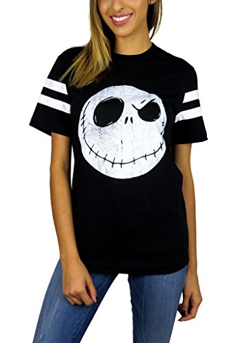Disney Nightmare Before Christmas Womens Skellington Head Varsity Football Tee Small -