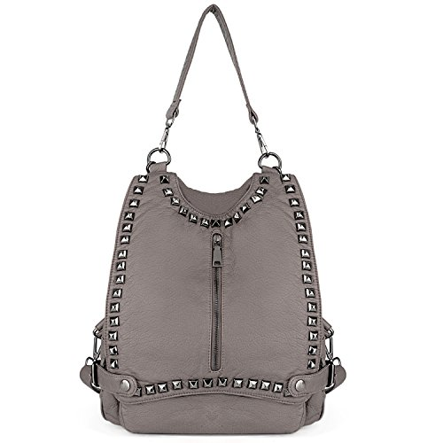 96e5728e5d00 UTO Women Backpack Purse PU Washed Leather Rivet Studded - Import It All