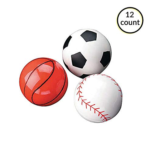 Sports Bouncy Ball Assortment Novelty School Party Toys - 12 ct. by FCV