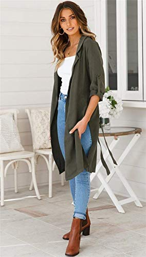 Chic Donna Relaxed Casual Autunno Lunga Leggero Khaki Cute Jacket Puro Cappotto Eleganti Primaverile Giacche Lungo Moda Colore Cardigan Spacco Manica AqwrPABZ
