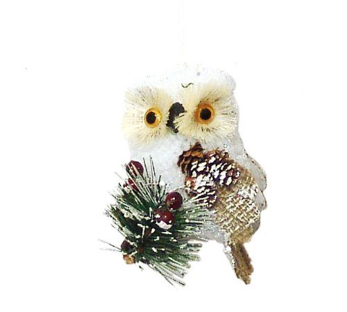 country rustic white owl christmas ornaments