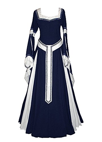 (Misassy Womens Medieval Dress Renaissance Costumes Irish Over Long Dress Cosplay Retro)