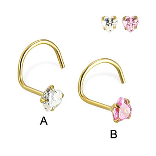 MsPiercing 14K Yellow Gold Nose Screw With Heart -Shaped Cubic Zirconia, 22 Ga, Pink - B (Screw Yellow 14k Nose Gold)