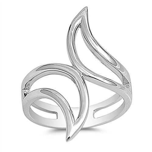 Wave Cutout Flame Ring New .925 Sterling Silver Band Size 7