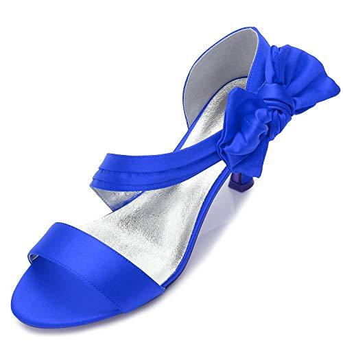 Blue Blue Peep Rotonda da Tacco Testa Sposa Scarpe 7cm Donna Donna Donna Banchetto Tacco Satinato Alto Elobaby Estivo 6w10zT