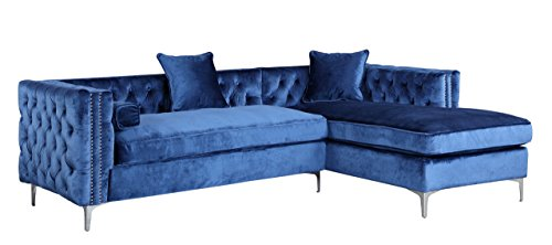 Iconic Home Da Vinci Tufted Silver Trim Navy Blue Velvet Right Facing Sectional Sofa with Silver Tone Metal Y-Legs (Tufted Couch Set)
