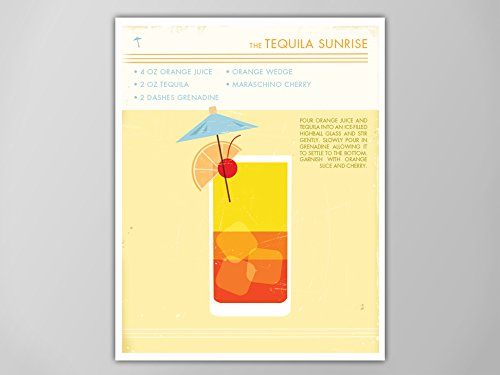 Tequila Sunrise Cocktail Art Print, Retro Food and Drink Poster, Tequila Sunrise, Tequila Sunrise Cocktail Print, Cocktail Poster, - Drinks Sunrise