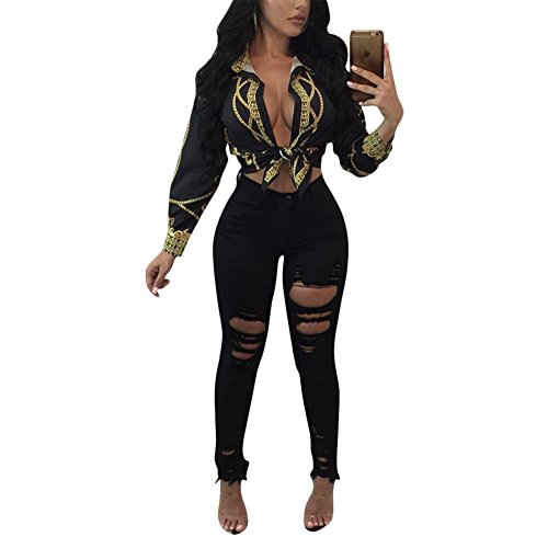 Women Sexy Gold Chain Long Sleeve Shirt Blouse Top Black - Top Black And Gold