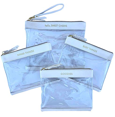 Lucky Love Diaper Bag Organizing Pouches| Set of 4 Including Diaper Clutch| Waterproof Dry Wet Bag for Baby Travel (Set of 4, White & Clear)