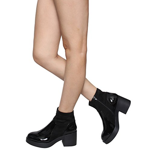 Women's Ankle Heel EJ45 Booties Chunky Run BESTON Top Stacked Black High Large OWq7wWcf5