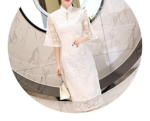 アンビエントブランド名逆チャイナドレス白い蓮の葉のスリーブのスパンコールステレオレースの刺繍のドレス,白,ザ?