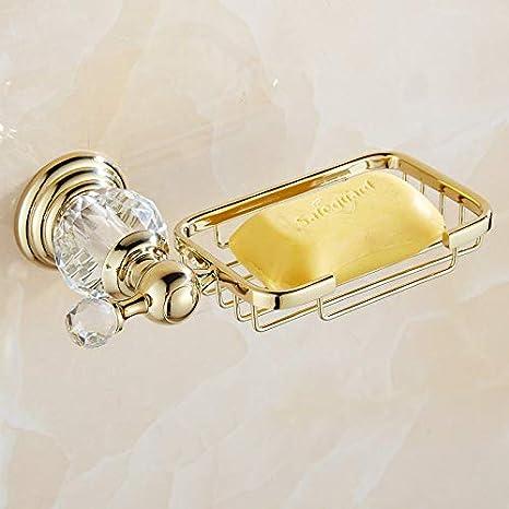 Accesorios de ba/ño montados en la pared de cristal de lat/ón pulido dorado Conjuntos de toallas Toallero Toallero Gancho Soporte de papel