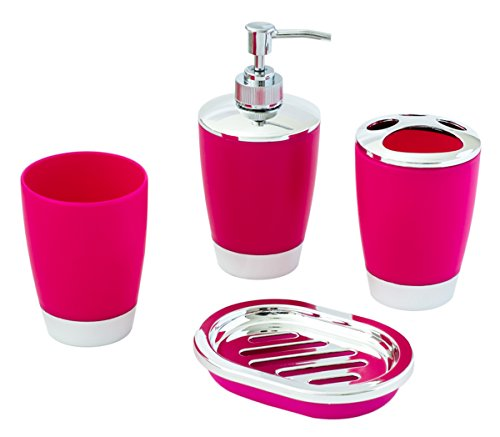 JustNile 4-Piece Compact Rose and Chrome Bathroom Accessory Set; includes Tumbler, Toothbrush Holder, Soap Dispenser and Dish – Made with Durable Plastic by JustNile