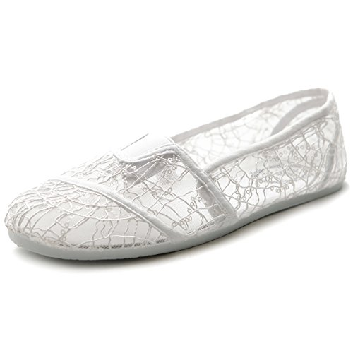 Ollio Women's Shoe Spangle Lace Slip On Ballet Breathable Flat ML028(10 B(M) US, White)