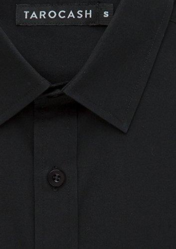 Edgar Chemise Des Hommes De Tarocash Polyester Mélange À Manches Longues Classique Adapter À Des Tailles Xs-5xl Pour Sortir Intelligent Noir Occasions Particulières