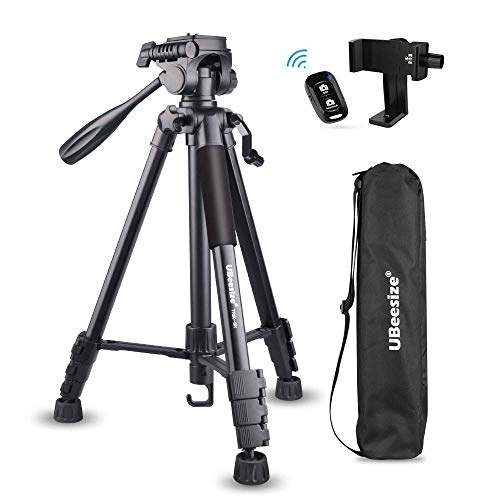Torjim 60″ Camera Tripod with Carry Bag, Lightweight Travel Aluminum Professional Tripod Stand (5kg/11lb Load) with Bluetooth Remote for DSLR SLR Cameras Compatible with iPhone & Android Phone-Silver