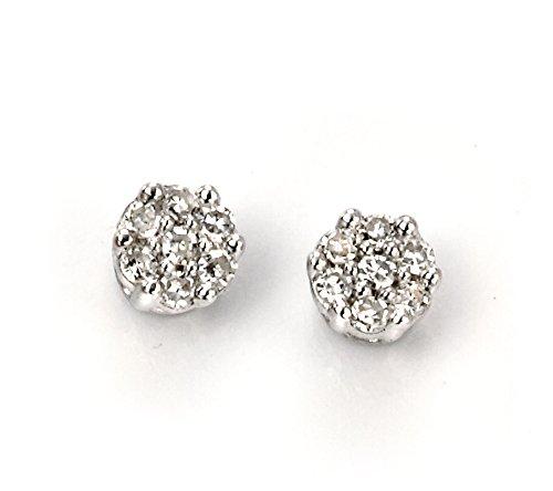 Diamant Or Blanc 9Carats Sterling Boucles d'oreilles rondes