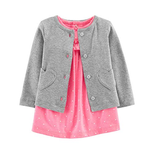 Polka Dot Cherries Snap - Carter's Baby Girls' 2-Piece Bodysuit Dress and Cardigan Sets (Pink Polka Dot/Grey Hearts, 12 Months)