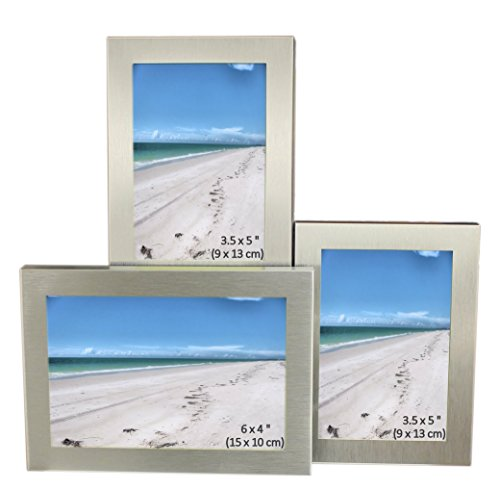 3 Picture Brushed Aluminum Satin Silver Color Photo Frame - Will Take One Photo Of 6 x 4 Inches (15 x 10 cm), & Two Photos Of 3.5 x 5 inches (9 x 13cm).
