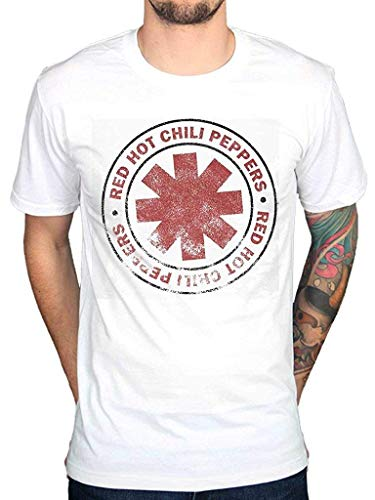 HarvestShop AWDIP Men's Official Red Hot Chili Peppers Distressed T-Shirt Vintage RHCP Rock Group Punk Hippie